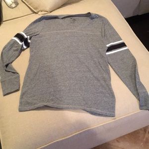 Other - Grey long sleeved T-shirt with striped sleeves